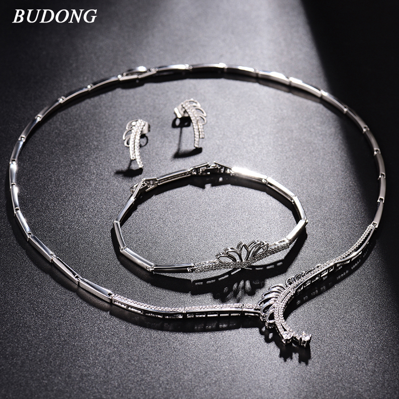 BUDONG Bridal Jewelry Sets Vintage Wedding Necklace Earrings Bracelet For Women Elegant Engagement Jewelry Set bracelet