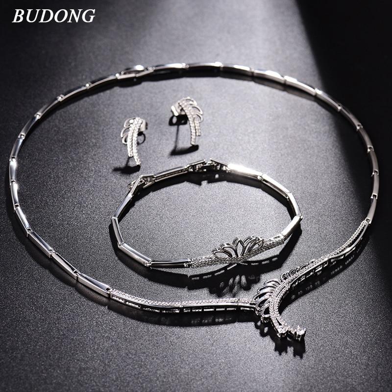 BUDONG ensembles de bijoux de mariée Vintage collier de mariage boucles d'oreilles Bracelet pour femmes élégant bijoux de fiançailles ensemble bracelet XUT811