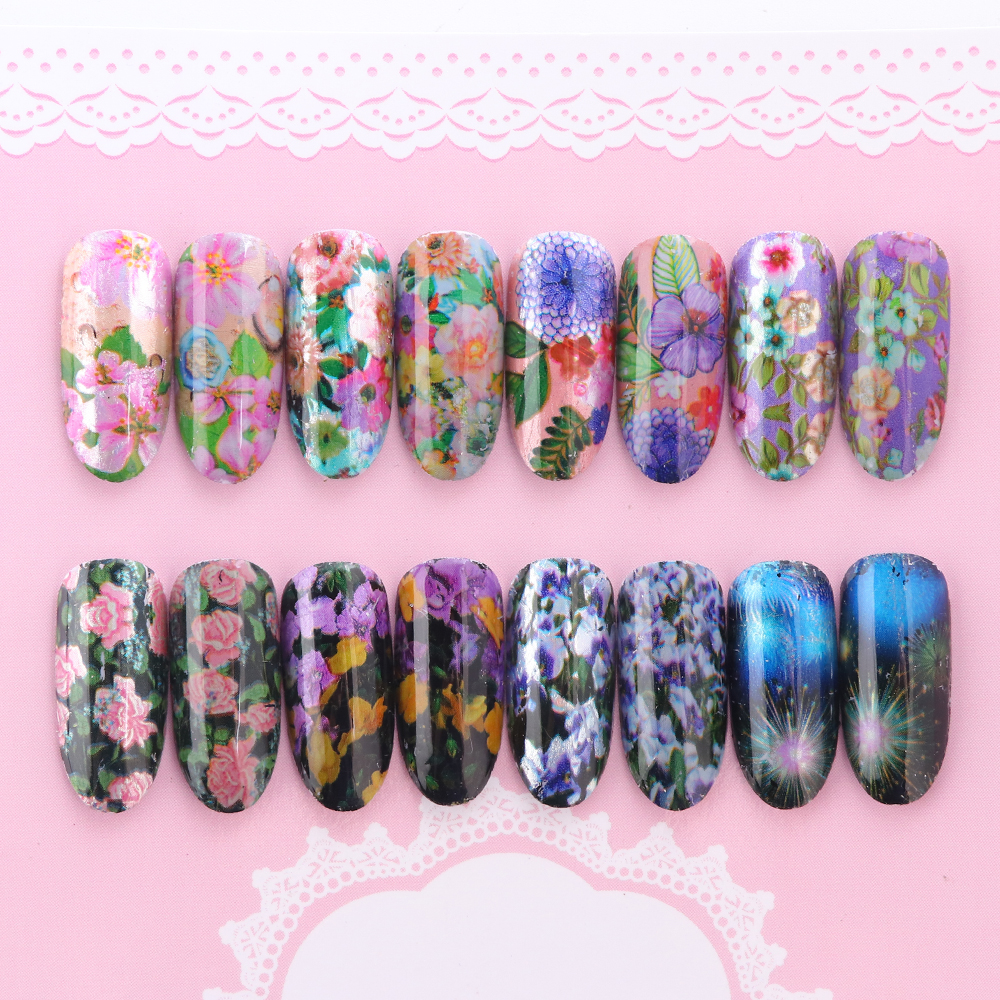 Image 2 - 16 Designs Flower Stickers for Nails Blossom Transfer Foil Set Floral Decals Slider Mixed Starry Paper Nail Art Decoration BE795-in Stickers & Decals from Beauty & Health