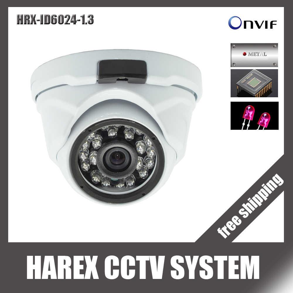 1280*960P 1.3Mega pixel 24pcs IR leds Metal case onvif IP Dome Camera for indoor / outdoor , free shipping