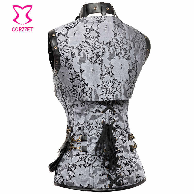 Grey Vintage Steel Boned Steampunk Clothing Gothic Waist Slimming Corsets Plus Size Corset Burlesque Costumes With Jacket 6XL