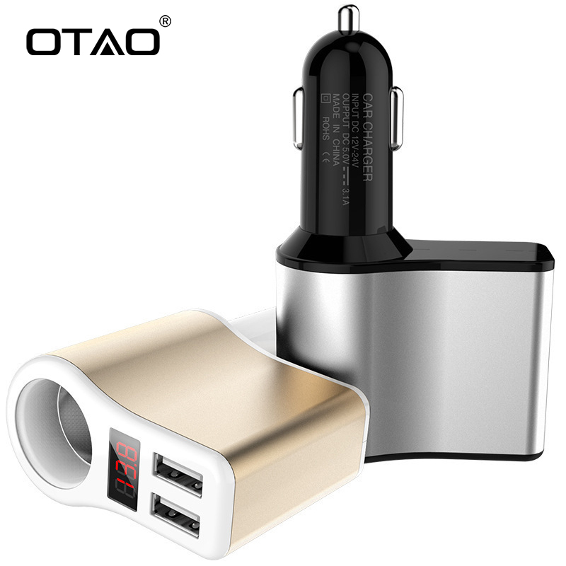 OTAO 3.1A Dual USB Smart Universal Car Charger Digital LED Voltage Display Charger Fast Charging Smoke mouth Phone Charger