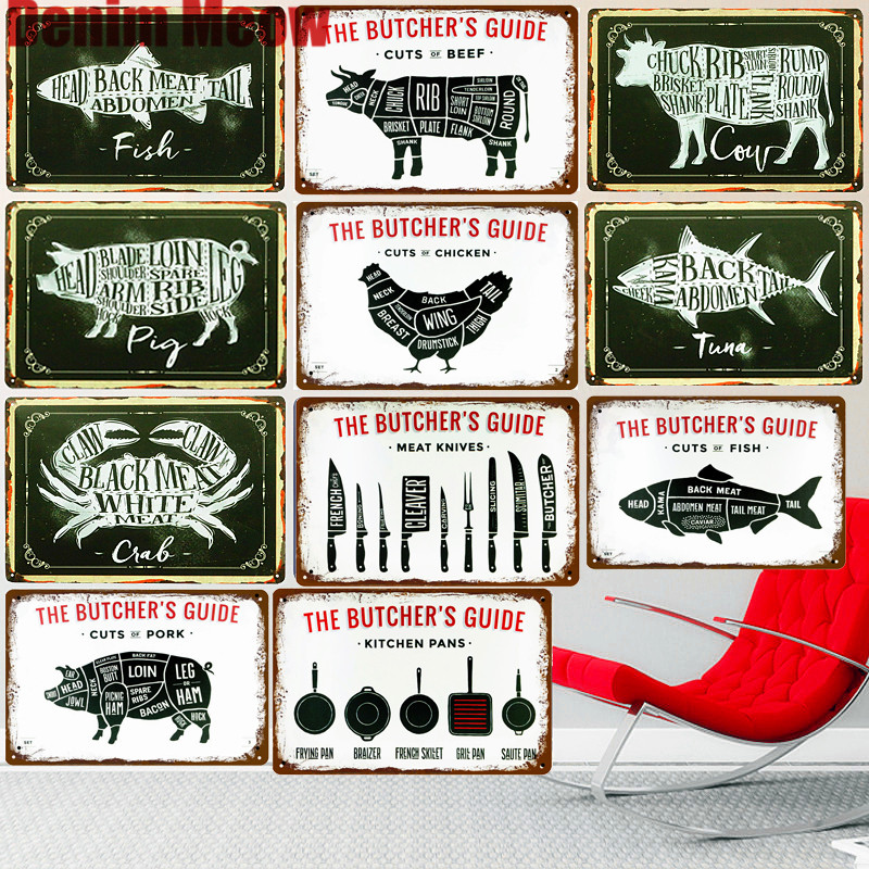 US $4.08 51% OFF|BUTCHER\'S GUIDE Vintage Metal Signs Kitchen Decorative  Plates Plaque Cut Beef Horse Chicken Pork Poster Duck Wall Stickers N265-in  ...