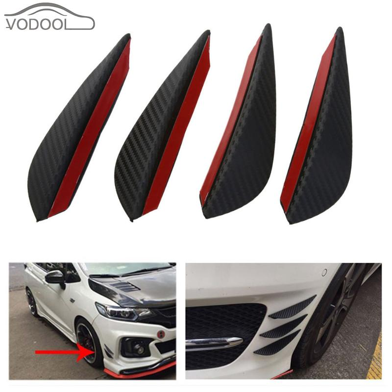 4Pcs/set Black Carbon Fiber Fit Front Bumper Lip Splitter Fin Air Knife Auto Body Kit Car Spoiler Canards Valence Chin Accessory ...