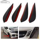 4Pcs/set Black Carbon Fiber Fit Front Bumper Lip Splitter Fin Air Knife Auto Body Kit Car Spoiler Canards Valence Chin Accessory