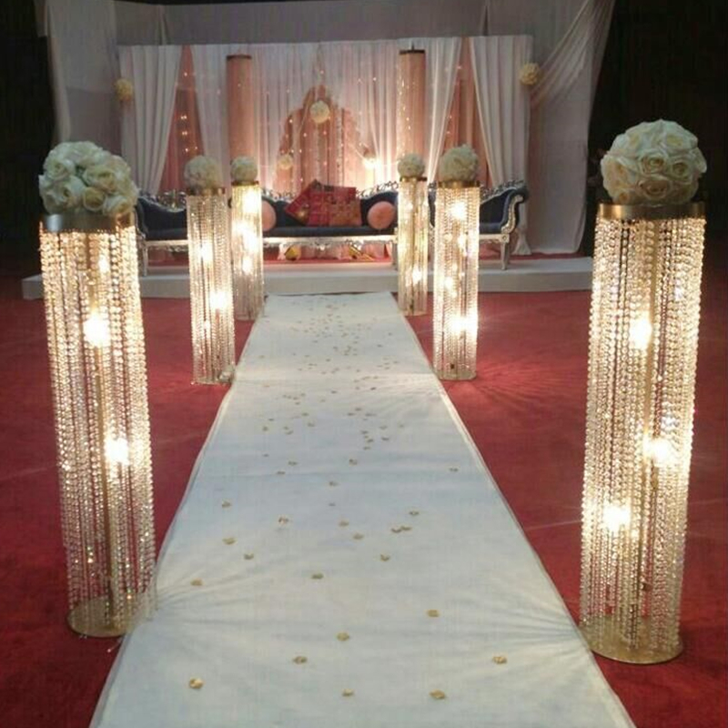 Wedding Flower Pillars: Wedding Candlestick/gold Metal Crystal Pillar Flower