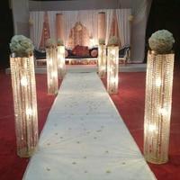 wedding candlestick/gold metal crystal pillar flower holder centerpiece