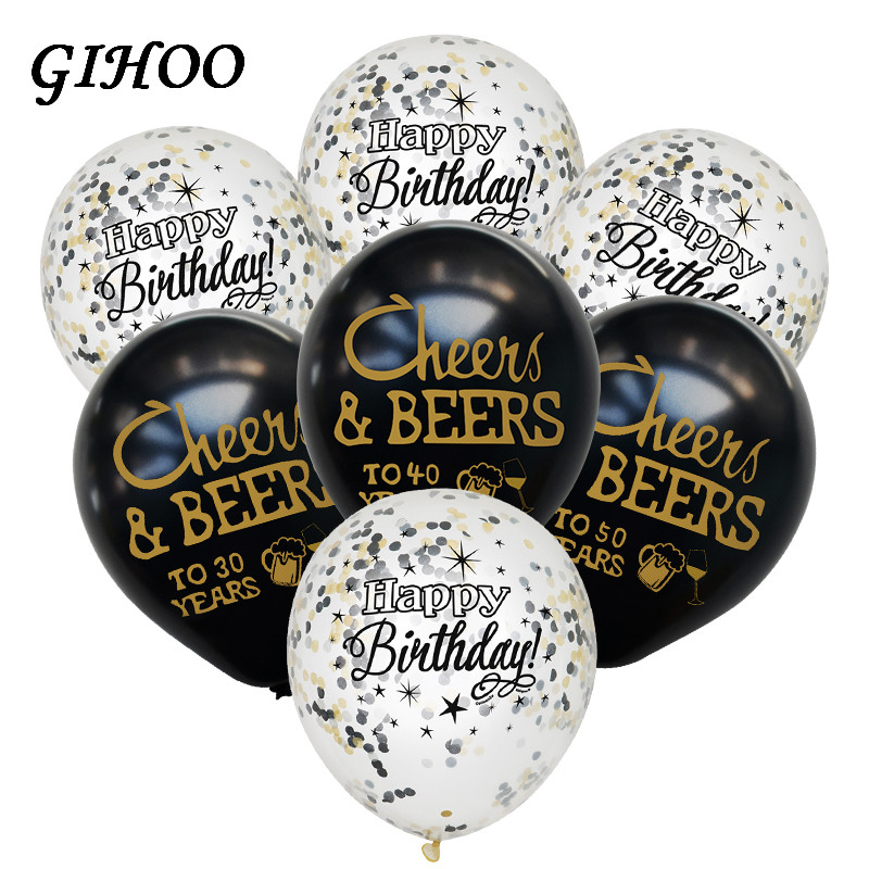 GIHOO 10pcs Cheers Beers 21 30 40 50 Years Wedding Anniversary 10inch Latex Balloons Birthday Adults Party Decorations Supplies in Ballons Accessories from Home Garden