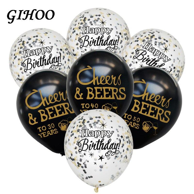 Gihoo 10 pçs cheers & beers 21 30 40 50 anos aniversário de casamento 10 polegada látex balões aniversário adultos decorações de festa suprimentos