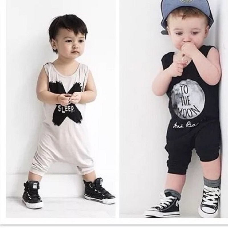 2017 New Summer Unisex Baby Boys&Girls Sleeveless Rompers Baby Clothes No Sleep Letter/To The Moon Harem Romper 0-2year