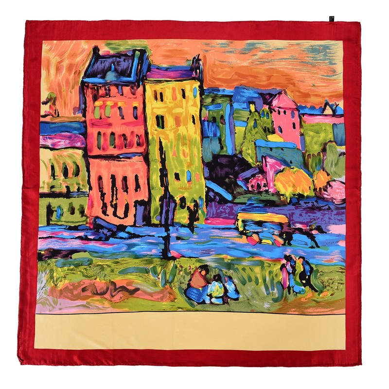 100% Pure Silk Oil Painting Scarf Luxury Scarfs Women painting Square Scarves Accessories high quality Christmas Gift 90x90cm