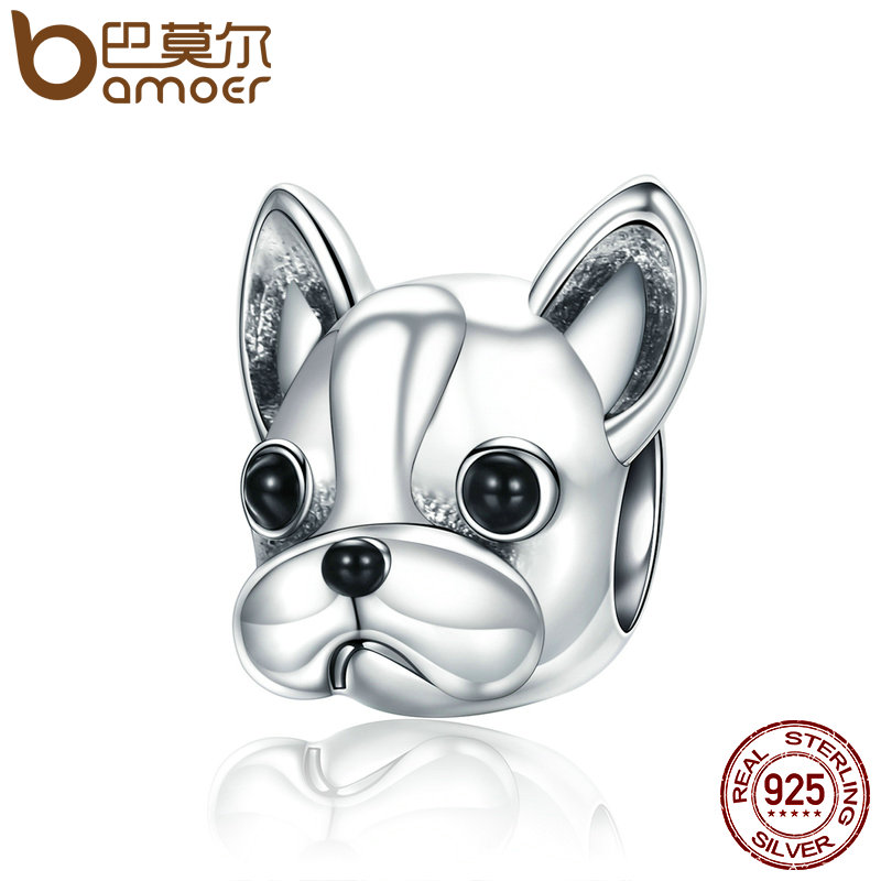 BAMOER de Plata de Ley 925 socios leales francés BULLDOG perro cuentas las mujeres encanto pulseras joyas de perro negro el viernes