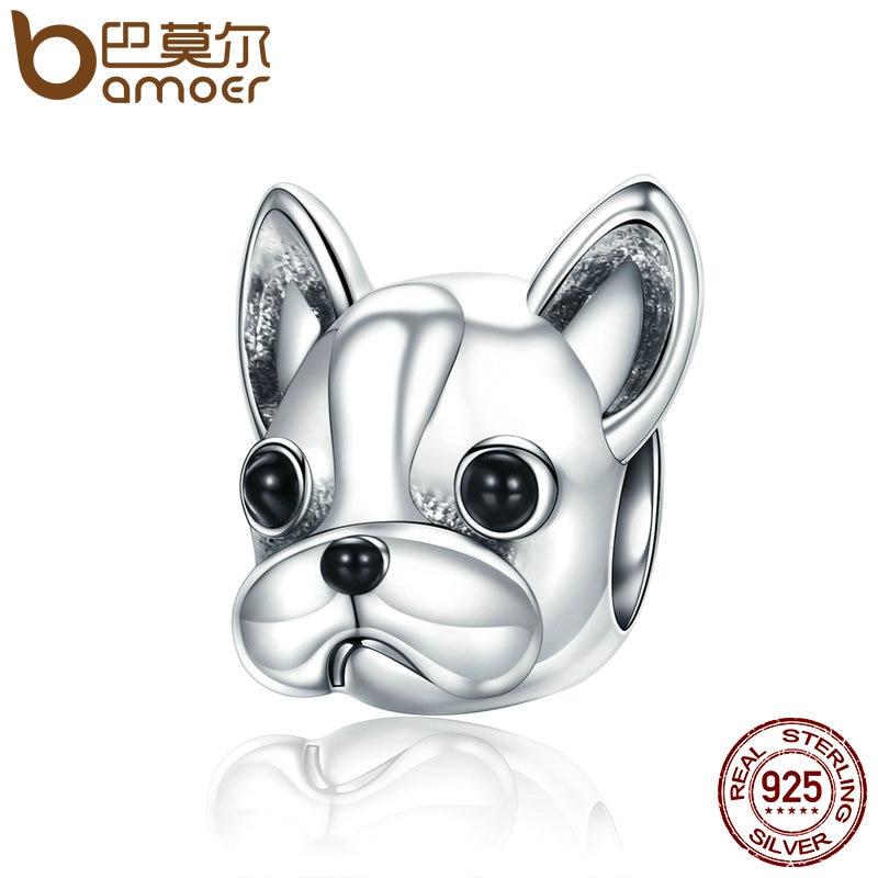 BAMOER 925 Sterling Silver Loyal Partners French BULLDOG Doggy Animal Beads fit Women Charm Bracelets Dog Jewelry SCC315