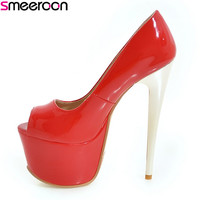 Smeeroon 2018 new style spring autumn fashion high quality thin high heels platform pumps peep toe red bule sexy ladies shoes