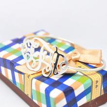 Однотонный Серебряный монограммный тонкий браслет с именной