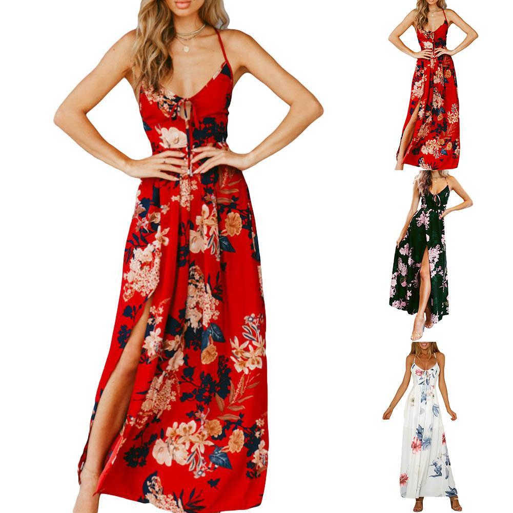 Women Floral Prints Split Dresses Ladies Sleeveless Backless Maxi Party Dress