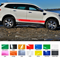 2 PC free shipping racing side door grid stripe graphic vinyl car sticker for ford everest 2015 2016 SUV car accessories decals