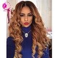Pelo humano virginal brasileño U parte peluca 130% densidad brasileño de Remy del pelo 27# rubio oscuro cuerpo de la onda Upart pelucas para mujeres negras