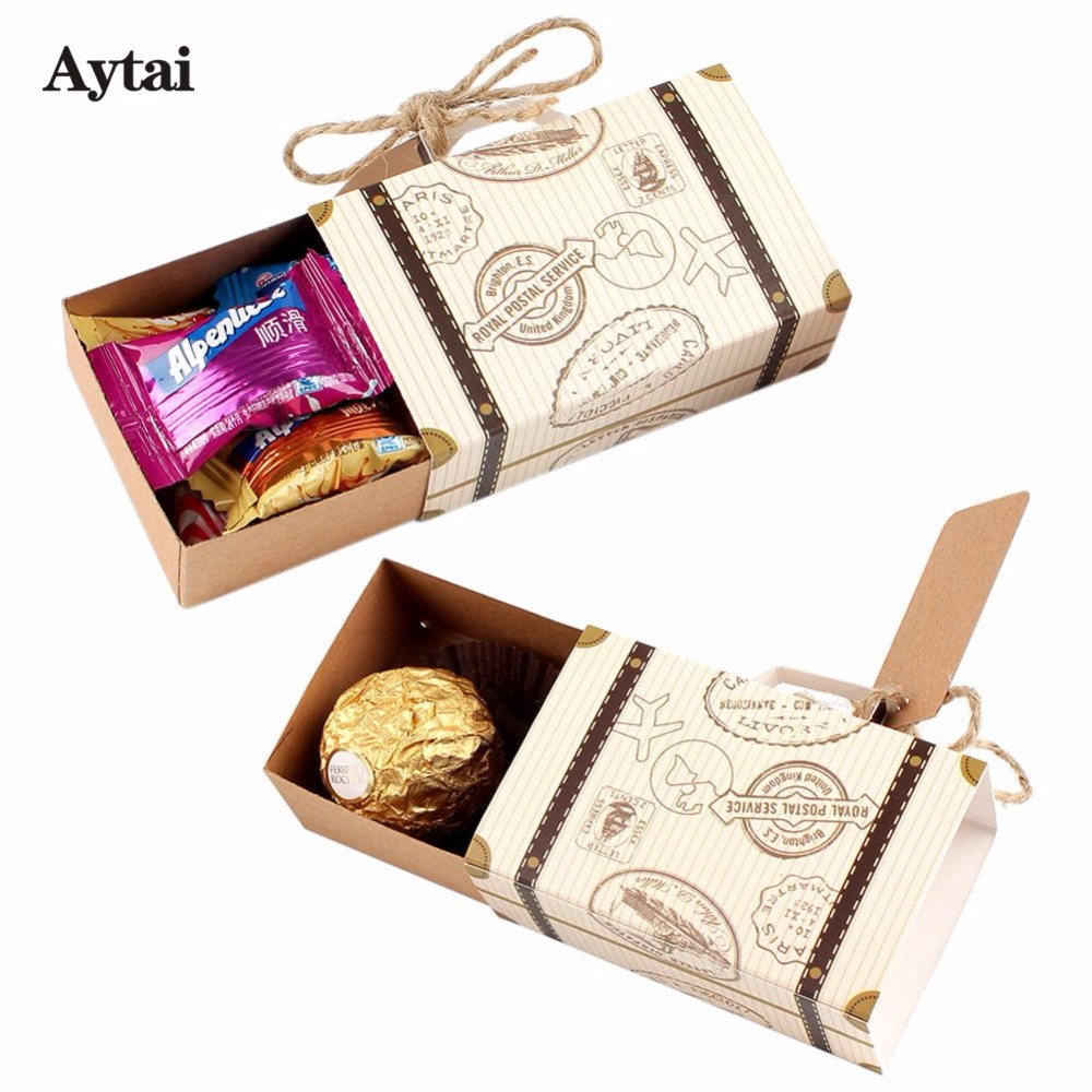 Aytai 20pcs Suitcase Candy boxes travel Classic theme elegant style ...