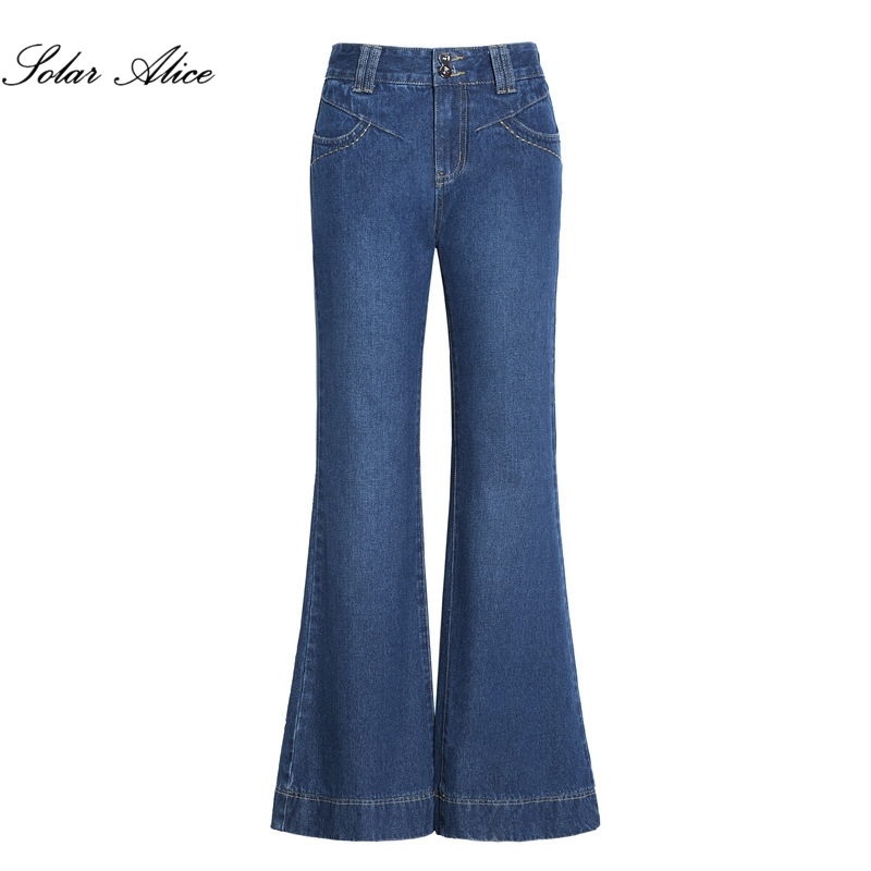 Free Shipping 2018 Autumn High Quality Women s Boot Cut Jeans Mid Waist Wide Leg Pants