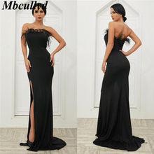 Mbcullyd Luxury Feathers Black Prom Dresses 2019 Sexy High Split Dress  Party Gowns Plus Size Elastic Satin vestidos de festa 979976c68f08