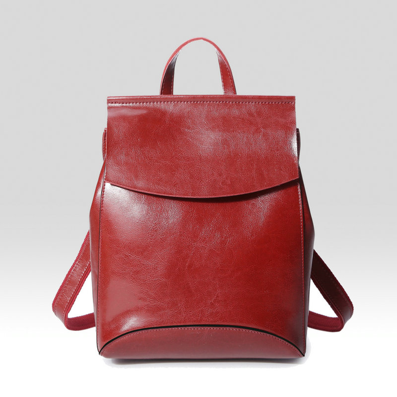 Genuine leather Women Backpack Solid Simple School Bag Backpack Handsome Girl Shoulder Bag Female back pack casual shoulder ...