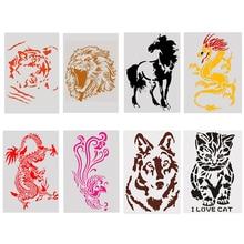 8 шт. трафареты для торта в виде животных, дракона, лошади, тигра, Феникса, сделай сам, детская живопись, скрапбук, соблазнительное тиснение, помадка, инструмент для украшения торта