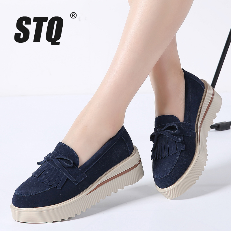 STQ 2018 Autumn women flats shoes women tassel platform shoes leather suede casual shoes slip on flats Creepers footwear 2859