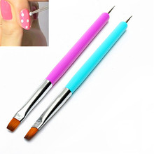 New Two Colors Blue and Purple Dual-use flat-head brush drill Manicure Dotting Pen Nail Art Brush 2 in 1 Decorations Tools