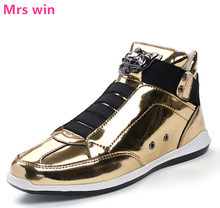 Autumn Winter Skateboarding Shoes Men Original Classic Glitter Metal High Shoes Gold with Lace Shoes Waterproof Sneakers