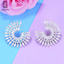 SISCATHY Charms Women Girls Earrings Goegeous Cubic Zirconia Statement Stud Luxury Jewelry Party Wedding Accessories
