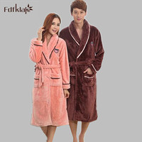 2016 Winter Long Sleeve Women And Men's Bathrobes Flannel Long Dresses Gowns Winter Bathrobe For Couples Pajamas Robes E0469