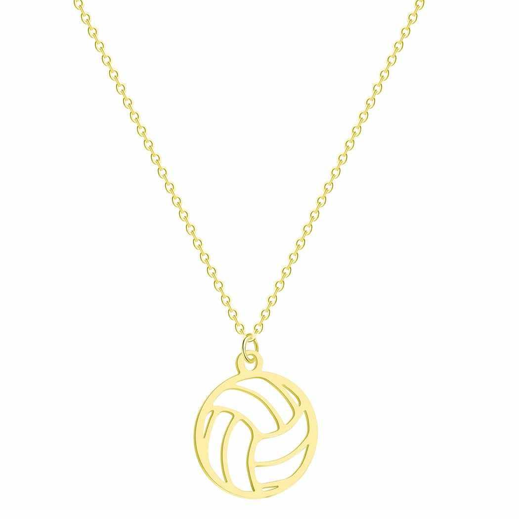 QIMING srebrny siatkówka naszyjnik kobiety mężczyźni piłka wisiorek biżuteria sportowa prezenty siatkówka fan sportu trener naszyjnik