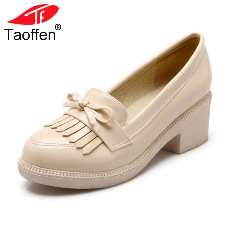 TAOFFEN Size 34-43 British Style Women Bowtie High Heel Shoes Women Tassel Round Toe Shoes Thick Heel Pumps Office Lady Shoe цена