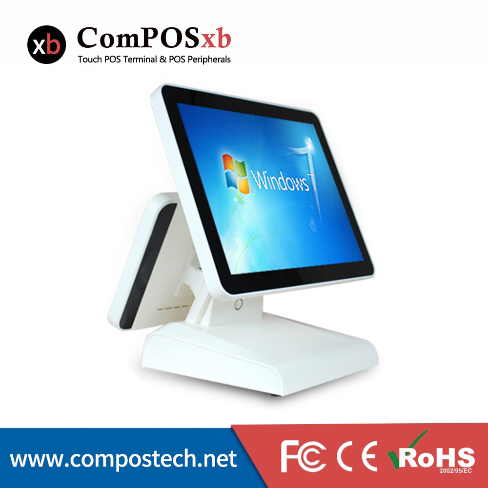 Free shopping Stylish dual screen cash register pos for restaurant 15 inch touch all in one pc Made from China OEM free shipping for htc made one gg0047111fp1 v02 touch screen 10pcs lower prices