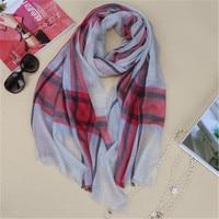 new fashion pure cashmere women plaid scarfs shawl pashmina 80x200cm small tassel rose pink 6color