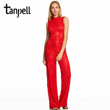 Tanpell high neck jumpsuits evening dress red sleeveless floor length sheath gown new women backless formal long evening dresses цены