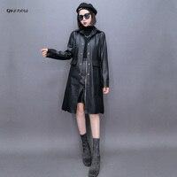 Qikenow Mùa Thu PU Leather Jacket Nữ Cộng Với Kích Thước Triều Nút Coat Dài Mùa Đông Màu Đen Áo Khoác Phụ Nữ 3XL Giacca Pelle Donna CPY-009