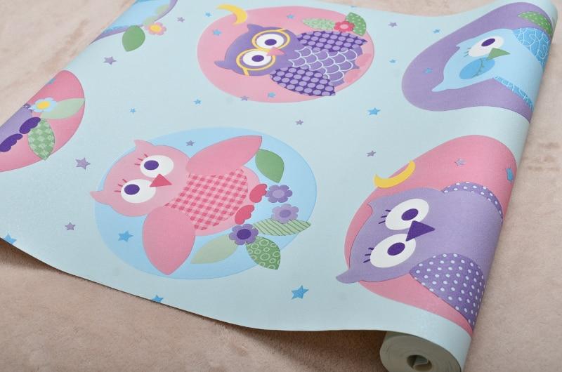 Kinderkamer Patronen Behang : Roze cool cartoon kids behang met kleurrijke uil vogels patroon