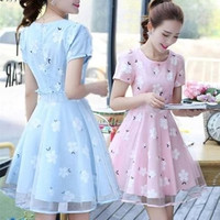 2017 Sweet Small Fresh Patchwork Print Gauze Fluid One Piece Dress Short Sleeve Princess Puff Party