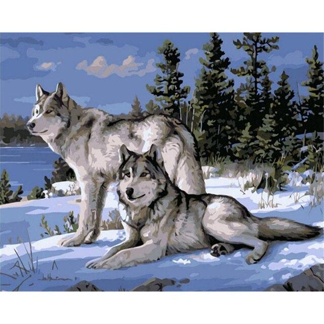 Sin Marco Pintura de Animales Lobo Pintura de DIY Por Los Kits de ...
