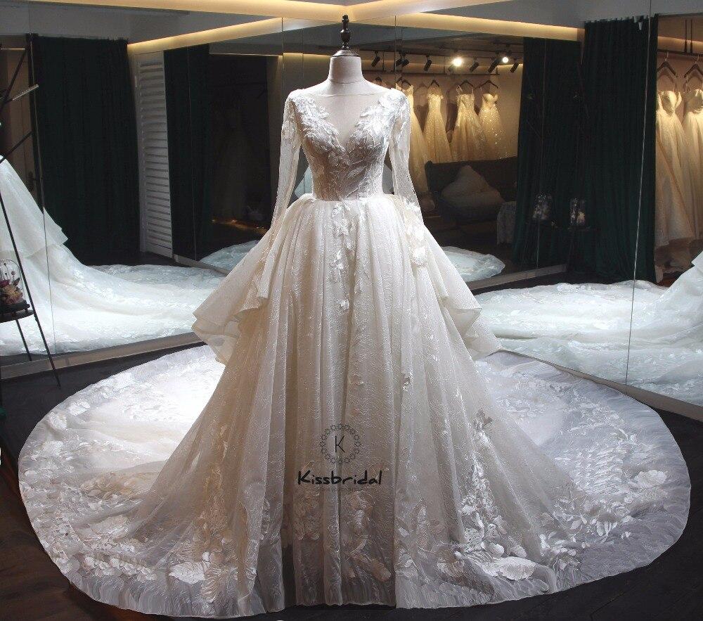 Latest Design Luxurious Wedding Dresses Royal Train Modest Long Sleeve Wedding Gowns vestidos de novia 2020