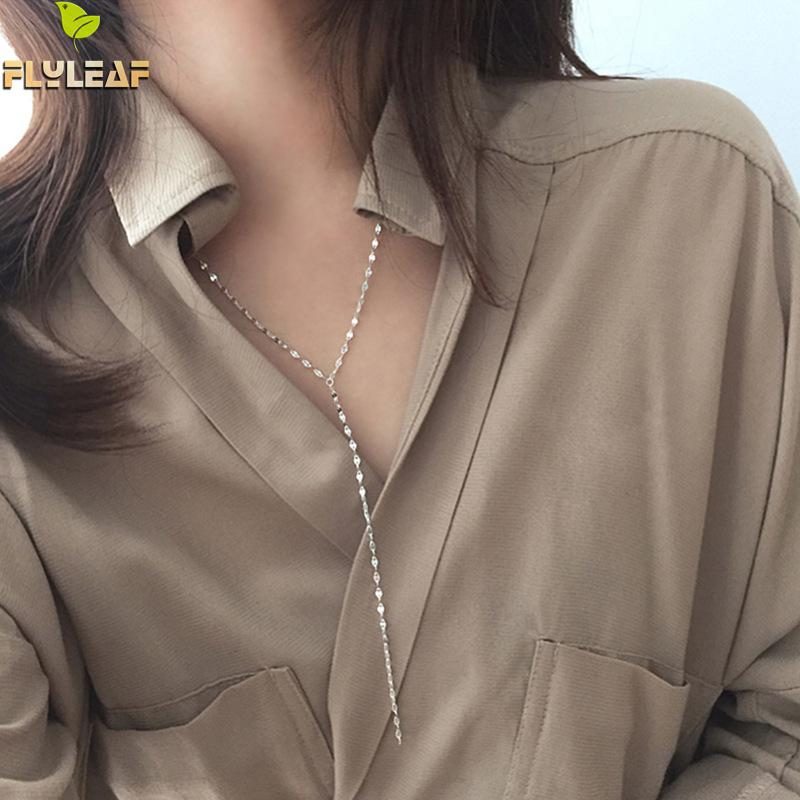 Flyleaf Sequin Chain Long Tassel Necklaces & Pendants For Women 2018 New Trend 100% 925 Sterling Silver Fashion Party JewelryFlyleaf Sequin Chain Long Tassel Necklaces & Pendants For Women 2018 New Trend 100% 925 Sterling Silver Fashion Party Jewelry