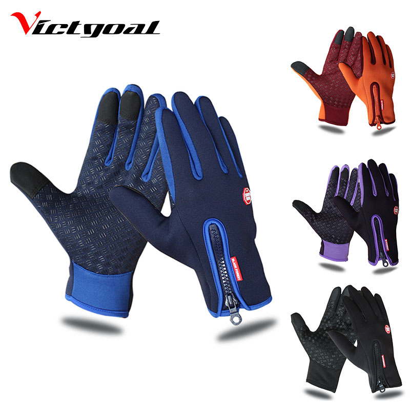 VICTGOAL Waterproof Cycling Gloves Full Finger Touch Screen Men Women Bike Gloves MTB Outdoor Sports Winter Bicycle Gloves