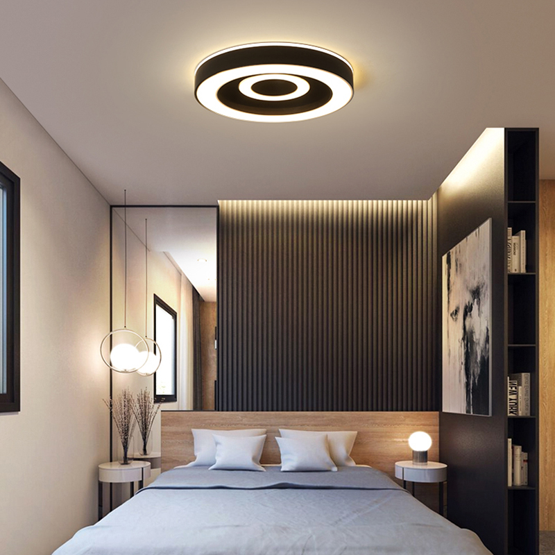 US $93.75 25% OFF|Round/Square/Triangle Modern led Chandelier for bedroom  Small living Room Study Room White or Black Chandelier Fixtures-in ...