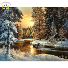 Diy coloring picture by numbers painting calligraphy canvas pictures for living room drawing by number sunset river forest Y094