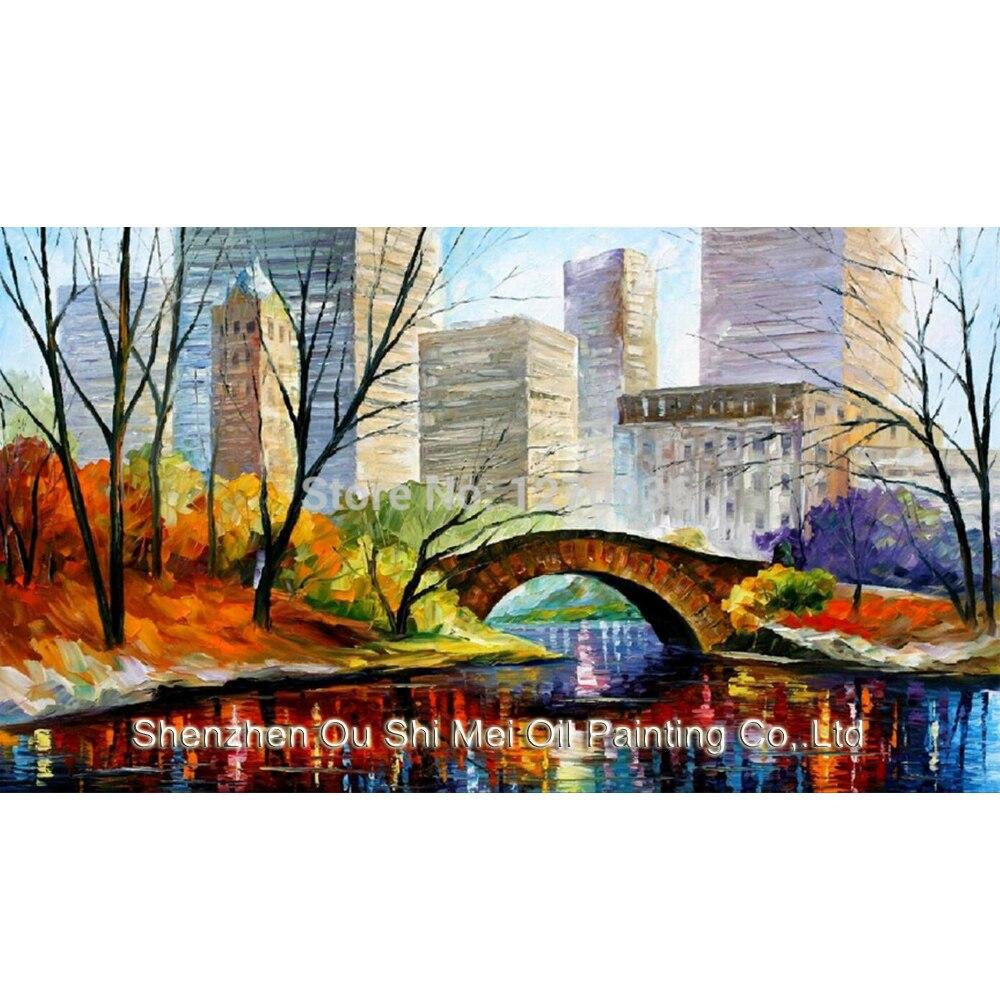 Profesionální výrobce nejkvalitnější ruční malování Krajina olejomalba New York Central Park Scenry pro domácí dekorace na zeď
