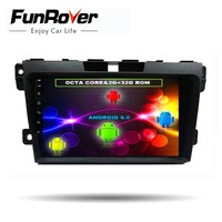 Funrover 8 cores 2 din 9'' Android8.0 Car DVD Player multimedia For Mazda CX7 CX 7 CX 7 2008 2015 Car radio GPS stereo Head unit