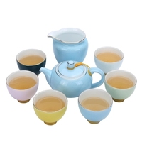 Complete Set Ceramic Kung Fu Tea Set Rainbow Teacup Teapot Chahai GaiWan Handmade Color Teapot Tea ceremony Household