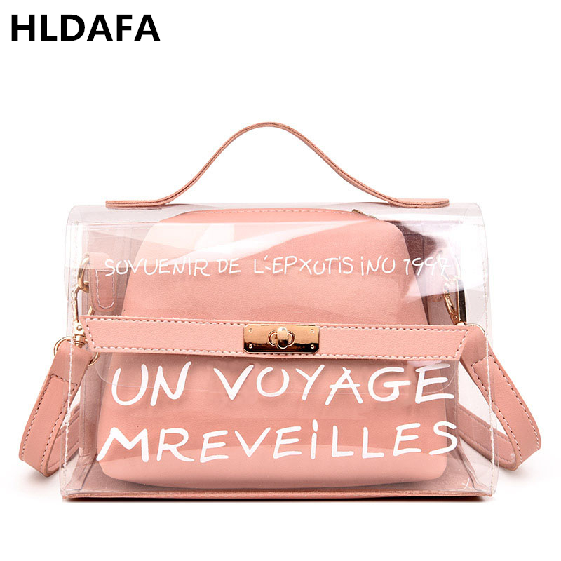 HLDAFA 2018 Design Luxury Brand Women Transparent Bag Clear PVC Jelly Small Tote Messenger Bags Female Crossbody Shoulder Bags